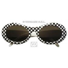 Black & White accidentada Gafas De Sol 1970's Diva Pop Star Lady Gaga Fancy Dress