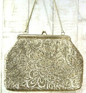 VINTAGE STYLE GOLD PATTERNED PADDED CLUTCH BAG WITH CHAIN - SATIN INTERIOR