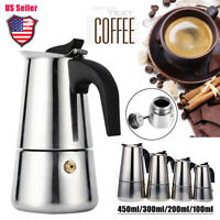 450ml Stainless Steel Stovetop Moka Espresso Coffee Maker Pot Induction Cooker