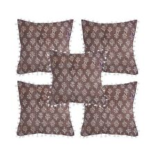 Indian Pom Pom Kantha Cushion Cover 5 Pc Set Pillow Cases