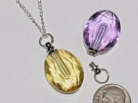Oval Yellow Glass pendant cremation urn ashes perfume bottle Screw cap Necklace