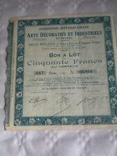 Vintage share certificate Stock Bonds Exposition art decoratifs et Industriels