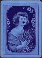 Playing Cards 1 Single Card Old Antique Wide GIRL LADY + FLOWERS Art Portrait C