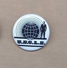 """Man From U.N.C.L.E. Classic Logo Button 1.25"""" Pin Badge UNCLE Spy TV 60s Repro"""