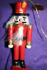 Vintage wood Christmas ornament Soldier red