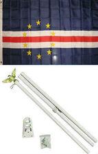 3x5 Cape Verde Flag White Pole Kit Set 3'x5'
