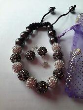 Shamballa Pulsera Y Aretes cristal de Estrás jewellry Set