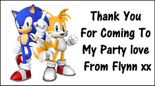 48 Sonic The Hedgehog Personalised Stickers Labels Party Bags Sweet Cones