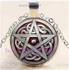Metal Pentagram Photo Cabochon Glass Tibet Silver Chain Pendant Necklace