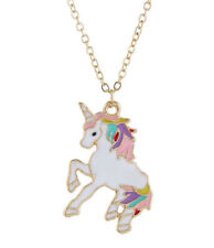 HORSE & WESTERN GIFTS ACCESSORIES GIRLS KIDS MULTI COLOUR  UNICORN NECKLACE PINK