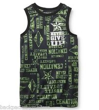 WWE Never Give Up John Cena Boy's 6/7 NeW Green/Black Muscle Shirt Tank Top NWT