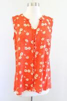 CAbi Womens Vital Floral Orange Printed Tank Top Blouse Size S Style 5550