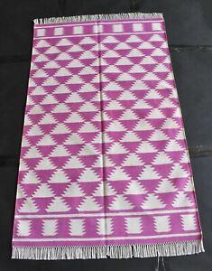 3 x 5 Feet Handmade Cotton Pink Rug Carpet Bohemian Reversible Dhurrie Dn-646