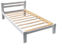 White Twin Bed Solid Pine Wood with Hardwood Slats