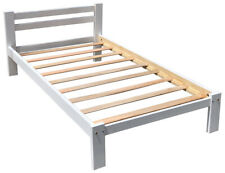 White Twin-XL Bed Solid Pine Wood with Hardwood Slats