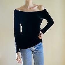 EXPRESS TRICOT VINTAGE VELVET OFF THE SHOULDER TOP M - L