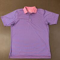 F&G Tech Mens Large Pink & Blue striped Short Sleeve Polo Shirt Golf