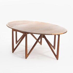 1960's Niels Koefoeds Hornslet Kurt Ostervig Teak Oval Drop Leaf Dining Table