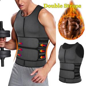 Men Gym Sweat Sauna Waist Trainer Zip Vest Weight Loss Top Neoprene Body Shaper