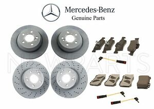 For Mercedes W215 CL500 Front & Rear Brake Disc Rotors w/ Pads & Sensors Genuine