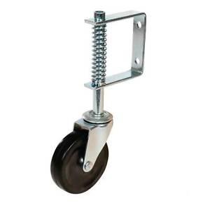 """Spring Loaded Gate Jockey Wheel Swivel Castor 100mm (4"""") Diameter for up to 57kg"""