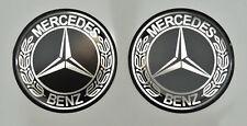 2pcs x MERCEDES BENZ (Dia 50mm) Vintage logo. Domed 3D Stickers/Decals.