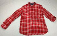 Tommy Hilfiger Large Women's half Button Down Long Sleeve Red  Plaid Shirt