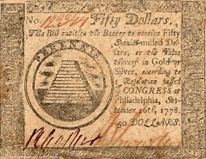 Fr. CC-85 September 26 1778 Philadelphia Continental Currency $50 Note