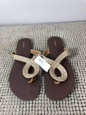 OLD NAVY Women's Size 9  Slip On Gold Flip Flops Sandals New With Tag