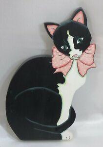 """Whimsical Wooden Black & White Tuxedo Cat Wall Hanging Folk Art  13"""" tall signed"""