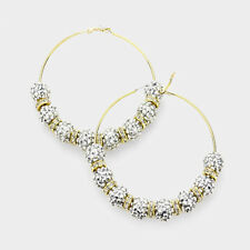 "Shamballa Hoop Earrings Pave Rhinestone Crystal Balls Big 3.5"" Leverback GLD SIL"
