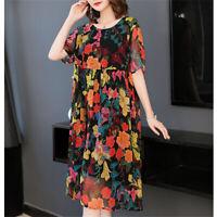 Spring Peony Flowers Silk Blend Short Sleeves Women's Loose Long Dress S-3XL