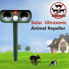 Solar Ultrasonic Garden Deterrent Repeller Animal Dog Cat Scarer Pest Green UK