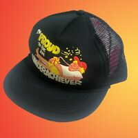 """VTG Black Trucker Snapback Hat 80's """"I'm Proud To Be An Underachiever"""" DEADSTOCK"""
