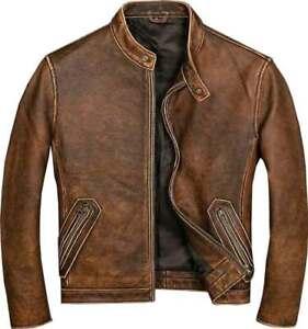 Men's Biker Brown Vintage Motorcycle Distressed Cafe Racer Leather Jacket