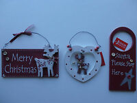Wooden Christmas Hanging Decorations Select: Reindeer, Heart or Door Hanger