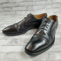 Santoni Mens Dress Shoes Oxford Cap Toe Black Leather Made in Italy Size 11.5 D