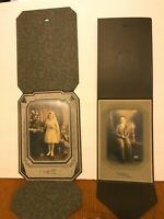 2 Vtg 1930s First COMMUNION Cabinet Photos BOY & Girl JOLIET & Chicago IL Church