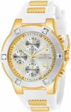 Invicta Women's BLU Chronograph 100m Stainless Steel White Silicone Watch 24192