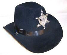 CHILD BLACK VELVET SHERIFF COWBOY HAT w badge costume KIDS SIZE DRESS UP HATS