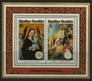 Paintings mnh Souvenir Sheet 1974 Rwanda Virgin and Child, Triumph of Venus nude