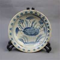 CHINESE OLD BLUE & WHITE LOTUS FLOWER AND LEAF PATTERN PORCELAIN PLATE