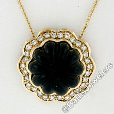Vintage 18K Yellow Gold High Relief Carved Black Onyx & 0.60ctw Diamond Pendant