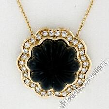 VINTAGE 18ct Oro Amarillo Alto Alivio tallado Ónice Negro & 0.60ctw