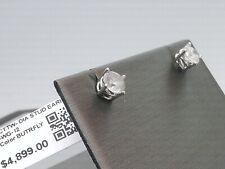 WOW $4900 HUGE 1CTTW CT REAL GENUINE Diamond Stud Earrings 14k SOLID White Gold!
