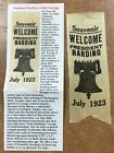 Warren G. Harding 1923 President Souvenir Welcome Silk Ribbon