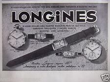 PUBLICITÉ 1935 LONGINES SI VOUS VOULEZ UNE MONTRE ROBUSTE HOMMES OU FEMMES
