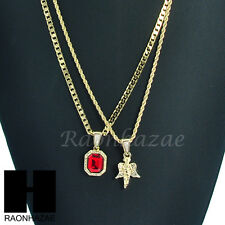 HIP HOP MINI RICH GANG RED RUBY & MINI ANGEL ROPE CUBAN CHAIN NECKLACE SET KN003