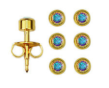 3prs 24K Over Surgical Stainless Steel Ear Piercing Aurora Borealis Stud Earring