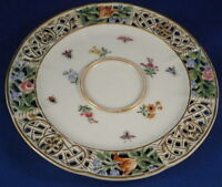 Antique 19thC Meissen Porcelain Reticulated Saucer Porzellan Untertasse German
